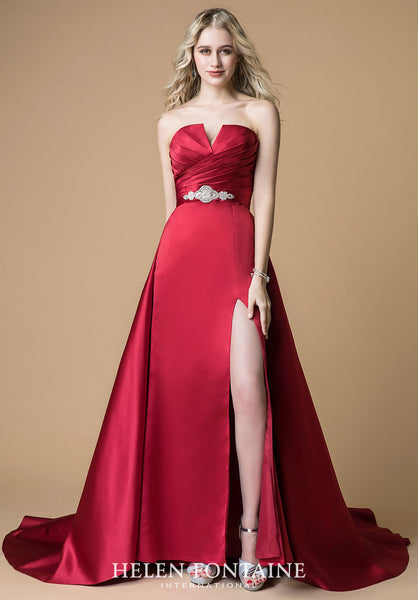 STRAPLESS RUCHED TOP SATIN SLIT GOWN WITH DETACHABLE TRAIN Style # HFP3500