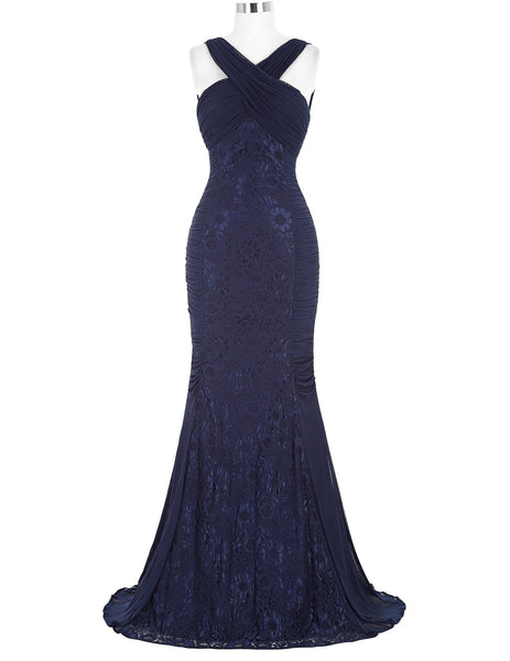 Halter Deep V-Back Pleated Long Lace Navy Blue Evening Dress  KK000118-1