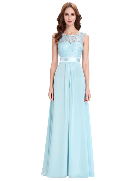 Sleeveless V-Back Formal Light Blue Lace Chiffon Evening/ Bridesmaid Dress KK000164-1