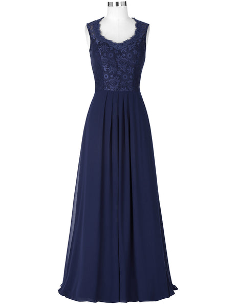 Sleeveless V-Neck Lace & Chiffon Long Prom Dress KK000202