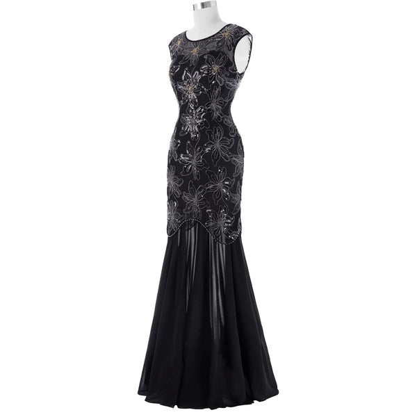 Sequined Cap Sleeve V-Back Evening Dress  KK001055-1