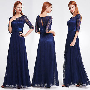 Women's Elegant Half Sleeve Long Evening Party Dress 08878