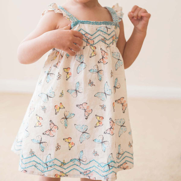 Boho butterfly embroidered sundress set