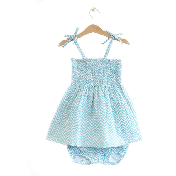 Ocean wave embroidered sundress set