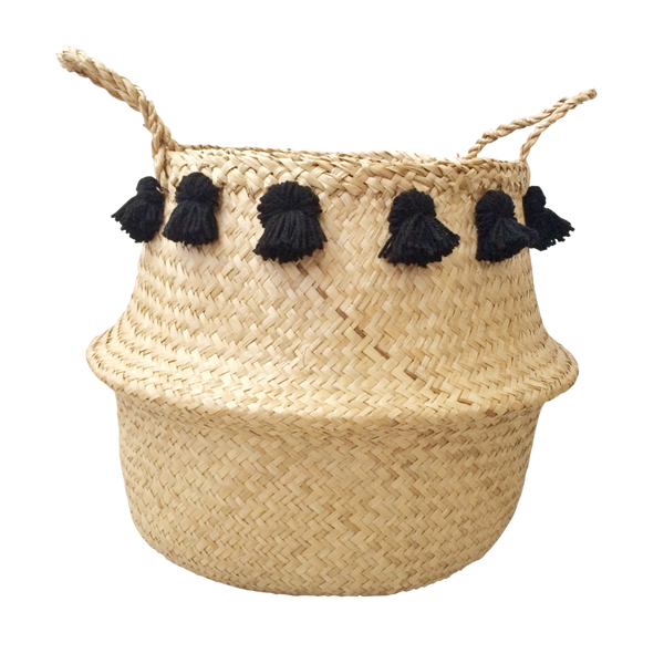 Seagrass Basket - Black Tassel