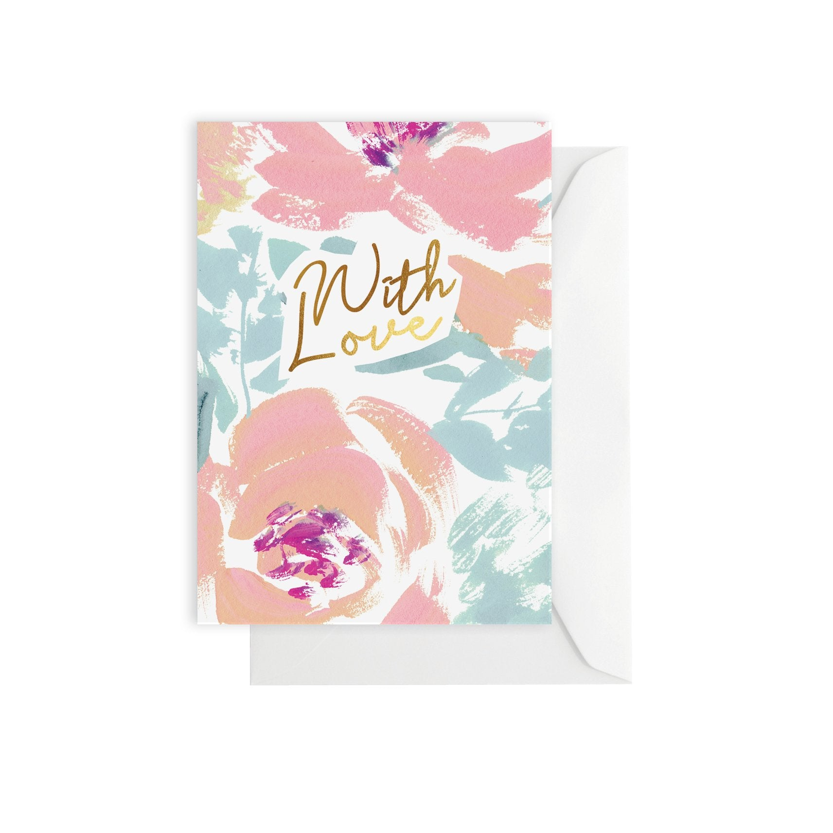 Greeting Card - With Love Pink/Blue