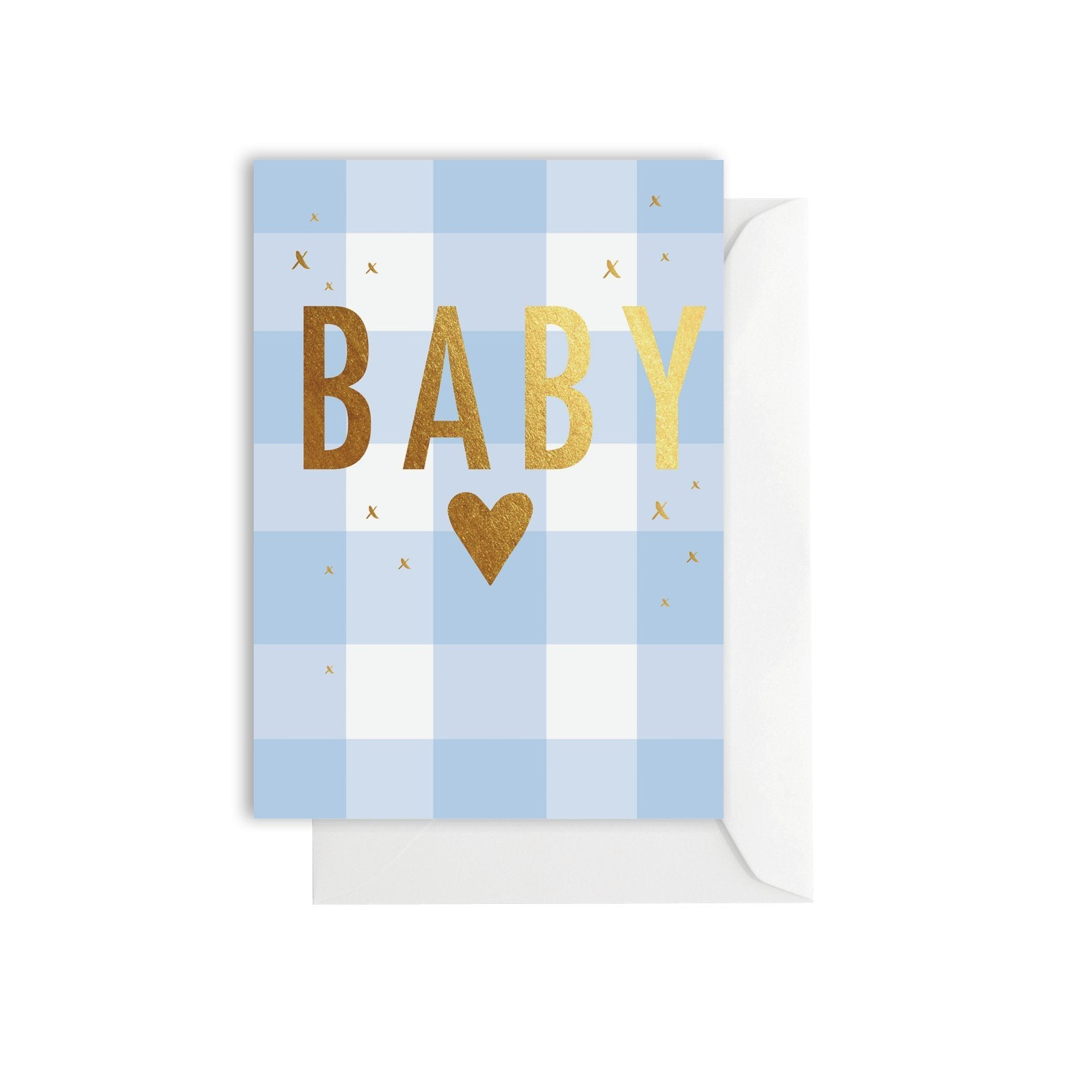 Greeting Card - Gingham Baby Blue