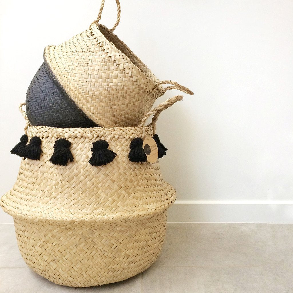 Seagrass Basket Large - Black Tassel