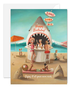 Sand Shark Bar Happy Birthday Card