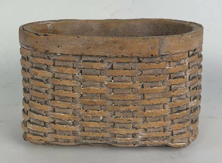 Narrow Oval Cement Basket