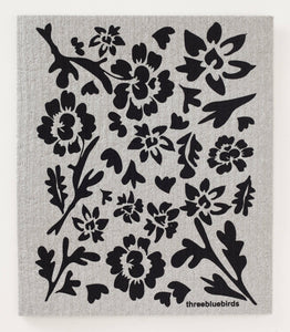 Black Flora on Grey Swedish Dishcloth