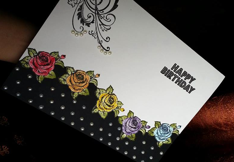 White & Black Flower Greeting Card (Handmade)