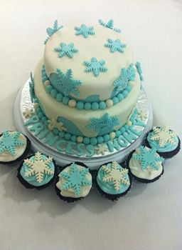 Snow Themed Cake & Cupcakes