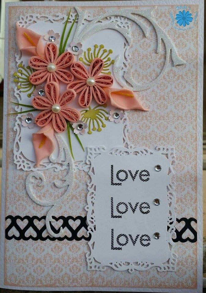 Peach flower Greeting Card (Handmade)
