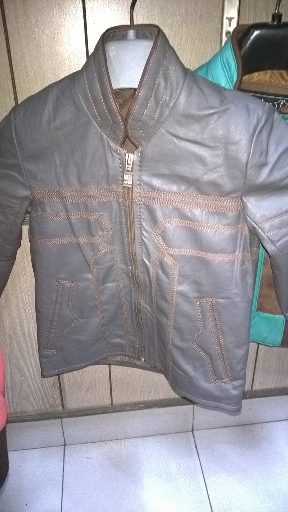 Kids Grey Leather Jacket