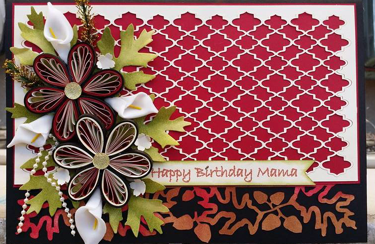 Red Fancy Greeting Card (Handmade)