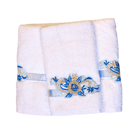 Embroidered White Towel Set