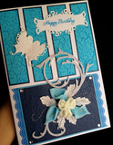 Stylistic Blue Side Greeting Card (Handmade)