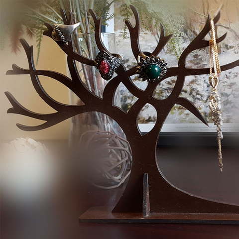 Wooden tree jewellery display