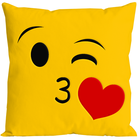 Emoticon Flying Kiss Pillow