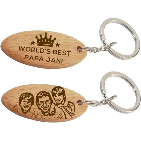 Personalized Dad Wood Keychain
