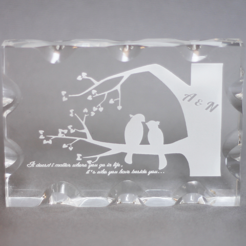 Lovebirds Glass Block