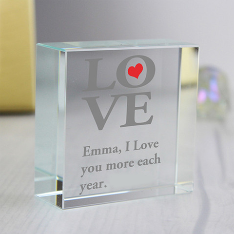 Customized Love Glass Block