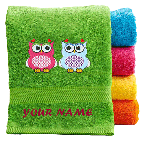 Green Embroidered Towel