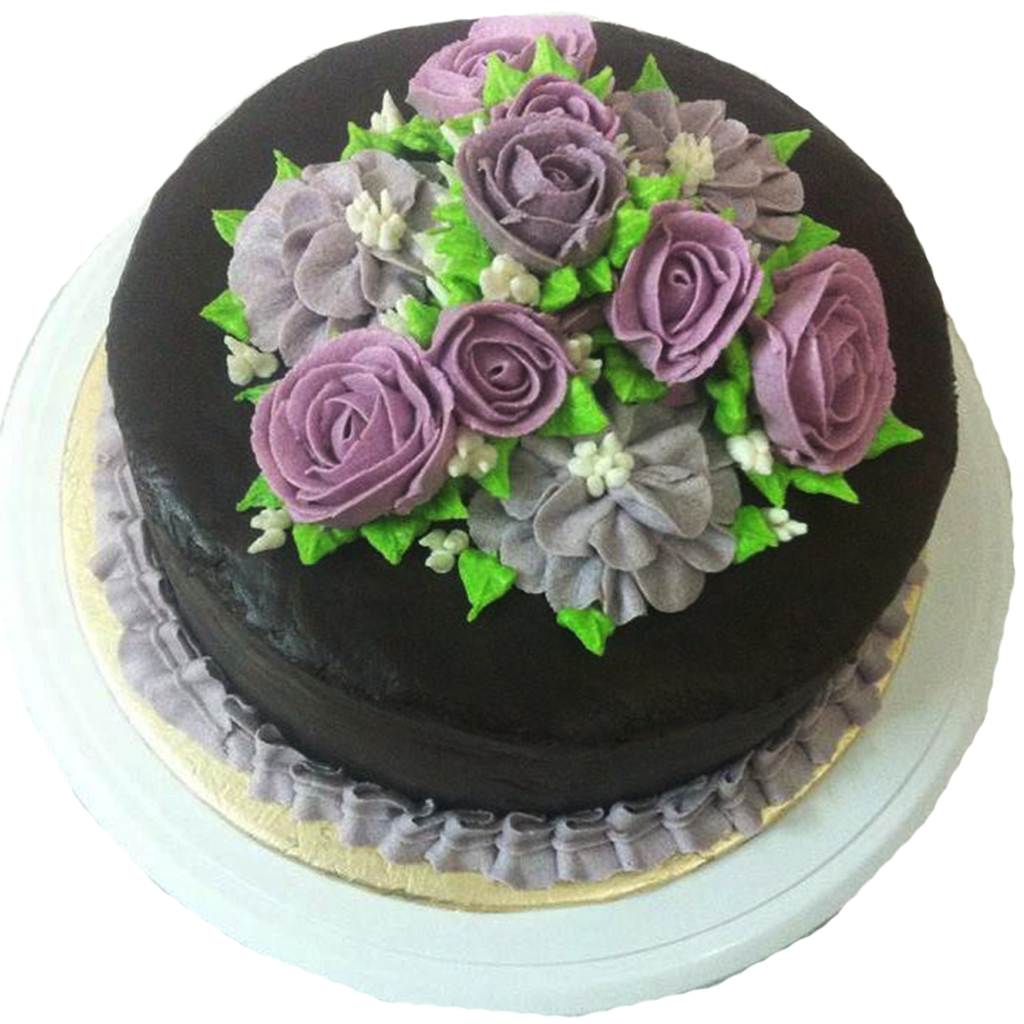 Chocolate Cake With Floral Arrangement