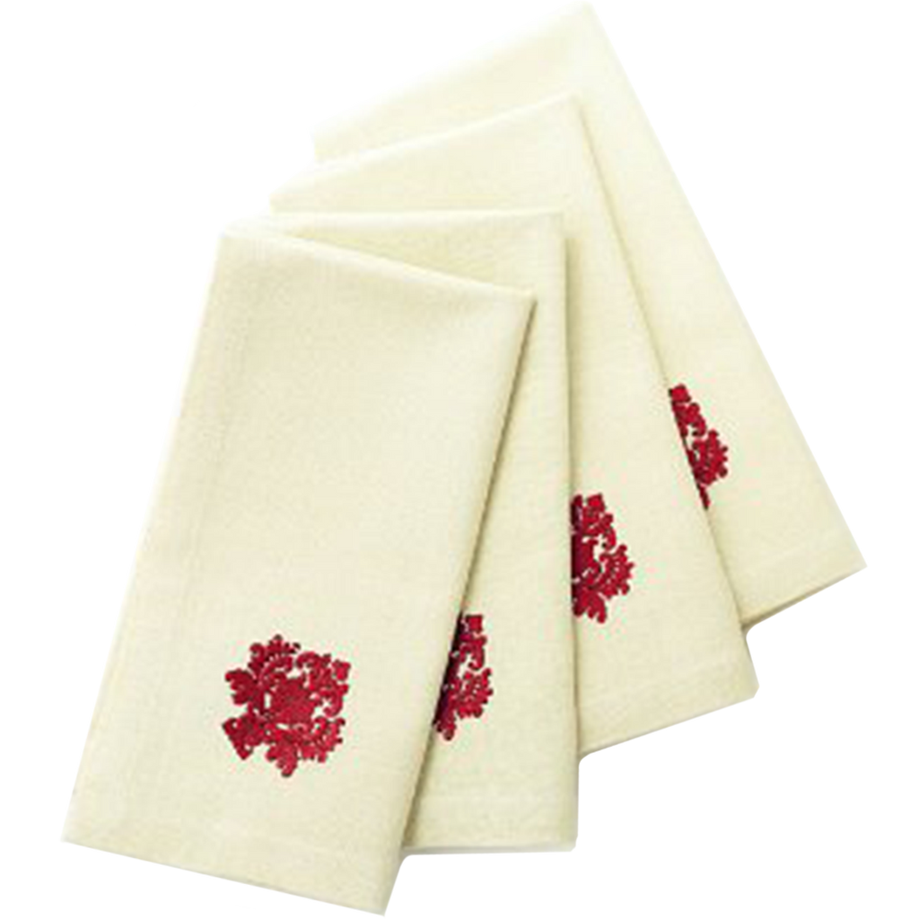 Red Motif Square Place Mats