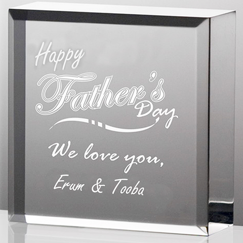 Customized Father's Glass Block