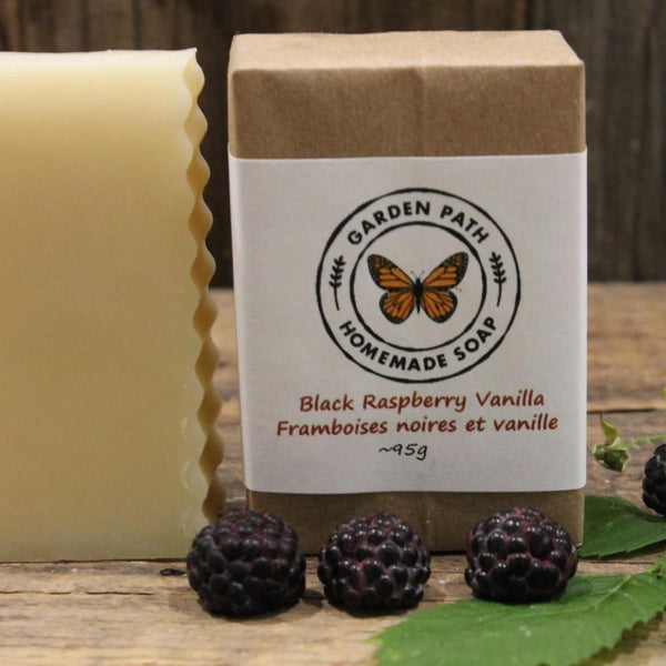 Black Raspberry Vanilla Bar Soap | Packaged | Lightly Scented with Black Raspberry Fragrance - Garden Path Homemade Soap