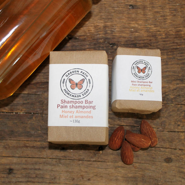 Honey Almond Shampoo Bar | Lightly Scented Honey Almond Fragrance | Made with Beer - Garden Path Homemade Soap