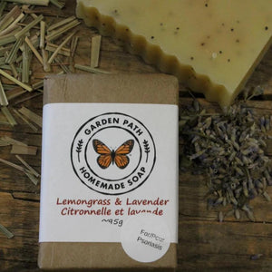 Lemongrass & Lavender Bar Soap (For Psoriasis) | 100% Natural Exfoliating Soap with Essential Oils - Garden Path Homemade Soap