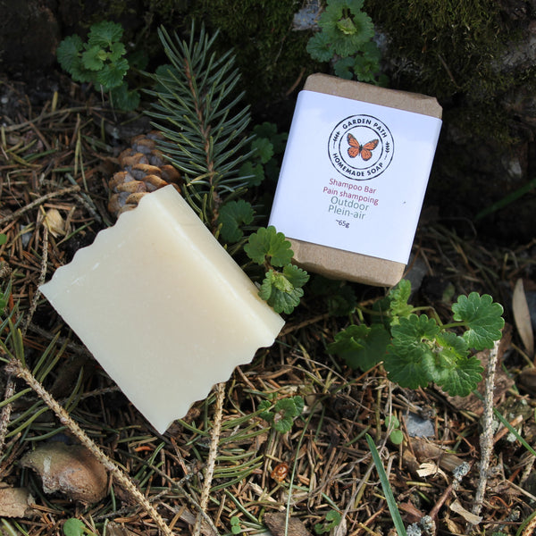 outdoor mini shampoo bar for gardeners and campers