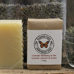 Lavender, Rosemary & Oats Bar Soap | 100% Natural Exfoliating Soap with Essential Oils - Garden Path Homemade Soap