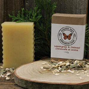 Lemongrass & Oatmeal Bar Soap | 100% Natural Exfoliating Soap with Essential Oil - Garden Path Homemade Soap