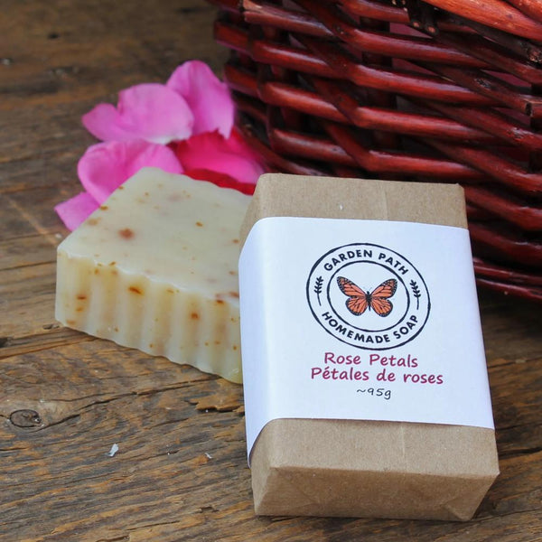 Rose Petals Bar Soap | Lightly Scented Rose Fragrance - Garden Path Homemade Soap