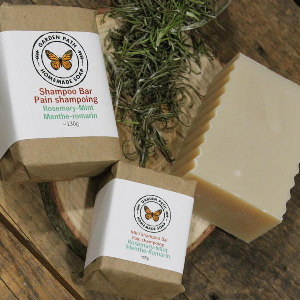 Rosemary Mint Shampoo Bar | 100% Natural Ingredients | Made with Beer - Garden Path Homemade Soap