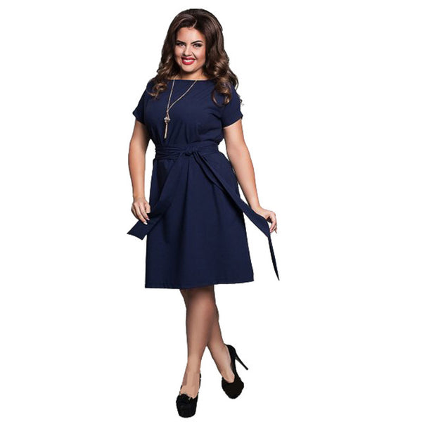 New arrival 2017 summer elegant solid dress with cloth sashes Women large size dress Plus size dresses for women 4xl 5xl 6xl