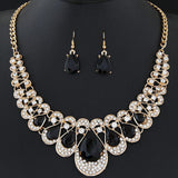 Womens Mixed Style Bohemia color Bib Chain Necklace Earrings Jewelry BK