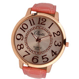 Womens Fashion Numerals Golden Dial Leather Analog Quartz Watch