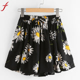 Fashion High Waist Shorts Pants 2017 Summer Elastic Waist Floral Printed Regular Print Drawstring Short Pants