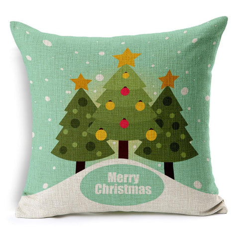Merry Christmas Cotton Linen Blended Tree Pillow Case Cushion Cover
