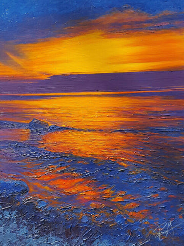 Large  Landscape Painting Sunset Lake