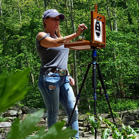 Artist Rebecca Grantham Painting On-Site