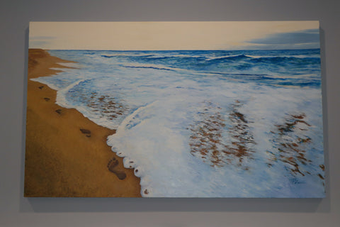 Footprints 3' 5' Original Commissioned oil painting of the ocean, beach and footprints.