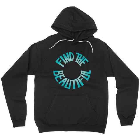 Turquoise Gratitude Find the Beautiful Hoodie in Black