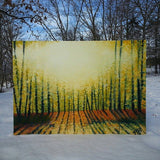 Large Abstract Landscape Painting Autumnal Colors. Bright Sunlight through the trees.Yellow Orange