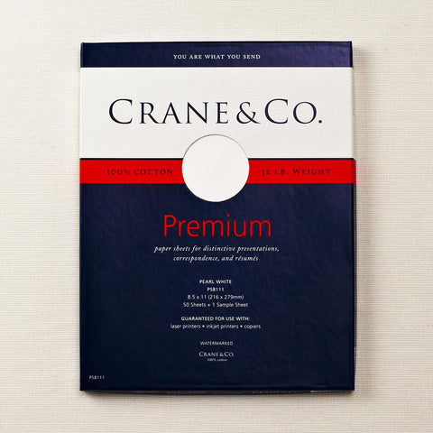 Crane - 32 Lb. Pearl White Kid Finish 8 1/2 x 11 Sheets  (Box of 50)